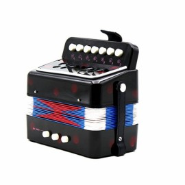 7-Key 2 Bass Mini Accordion Musical Instrument Toy Gift for Kids Black
