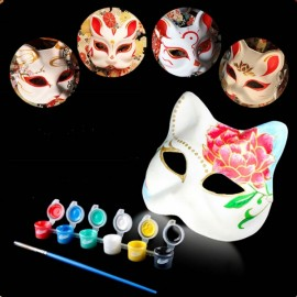 Halloween Cosplay Costume Party Fox Mask Paper Pulp Mask for DIY White