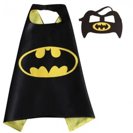 Kids Costume Super Hero Cape & Mask Bat Children Boy Girl Cosplay Suit Yellow & Black
