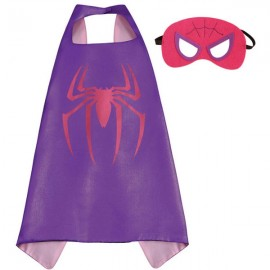 Kids Costume Super Hero Cape & Mask Spider Children Boy Girl Cosplay Suit Purple