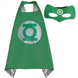 Kids Costume Super Hero Cape & Mask Green Lantern Children Boy Girl Cosplay Suit Green & Silver