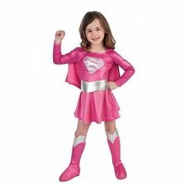 Halloween Cosplay Costume Superman Style Girl Dress Kit Pink S