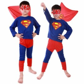 Children Party Cosplay Costume Boys Girls Kids Clothes Superman Clothing Set Halloween Gift Red & Blue S