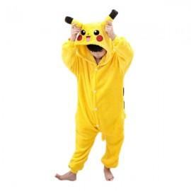 Cute Cartoon Style Laughing Pikachu Pattern Kids' Flannel Sleepwear Jumpsuits (125-135cm) Yellow