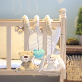 Baby Cartoon Plush Bed Hanging Bell Ring Rattle Beige