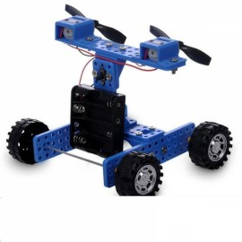 DIY Rubber Wheel Trolley Wind NO.35 Model Kit for Arduino DIY Handmade Assembling Blue & Black