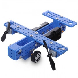 Small DIY Aircraft Model Common Wheel Propeller Fighter Assembly Toys Kit Black & Blue