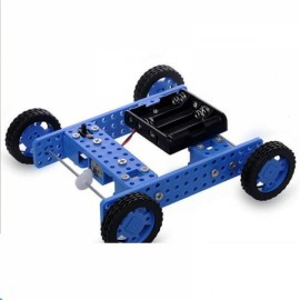DIY Rubber Wheel Trolley Wind NO.32 Model Kit for Arduino DIY Handmade Assembling Blue & Black