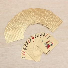 24K Carat Gold Foil Plated Poker Game Playing Cards Grid Golden