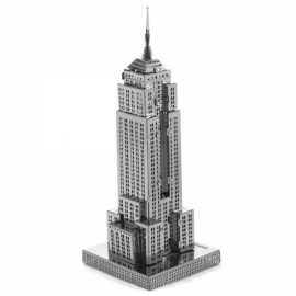 Empire State Building Model No-glue Metallic Steel Nano 3D Puzzle DIY Jigsaw Silver