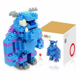LOZ 220pcs M-9163 Anime Monsters University Sulley Building Block Educational Assembling Toy Blue & White & Gray & Peach