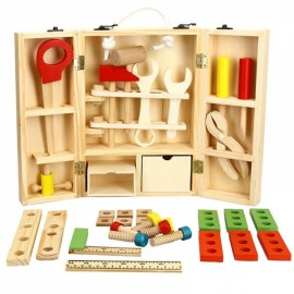 Wooden Simulation Toys Boy Repair Toolbox Multifunctional Disassembly Repair Tool Combination Multicolor