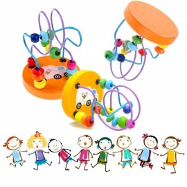 Children Kids Baby Colorful Wooden Mini String Bead Toy Educational Toy Random Delivery