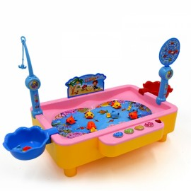 Plastic Musical Magnetic Rotary Fishing Toy Kids Educational Gift Toy Large Size Pink