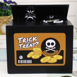 Automated Skull Heads Coin Piggy Bank Saving Money Box Novelty Toys Black
