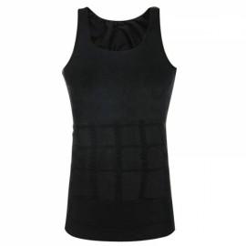 Men's Belly Fatty Slimming Body Shaper Vest Shirt Corset Underwear Black S