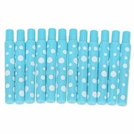 12pcs Plastic Outer Tube Little Dots Lip Brushes Blue