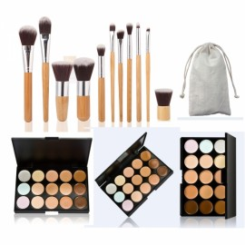 15 Color Concealer Palette & 11pcs Bamboo Handle Brush Pince Maquiagem Kit