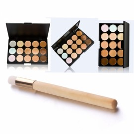 15-Color Face Cream Concealer Palette Kit + Fiber Bristle Nose Cleaning Brush