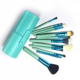 12pcs Makeup Brushes Kit Studio Holder Tube Convenient Portable Leather Cup Natural Hair Synthetic Duo Fiber J1204MCB Green