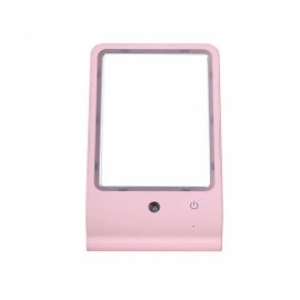 Water Makeup Mirror USB Desktop Makeup Mirror with LED Lamp Pink