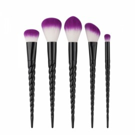 GUJHUI 5pcs Exquisite Thread Handle Nylon Fiber Cosmetic Makeup Brushes Kit Black Tube & Purple Hair