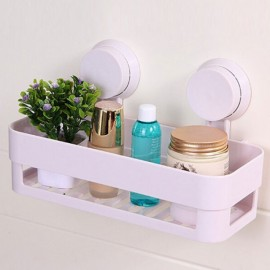 Plastic Bathroom Shelf Kitchen Storage Box Organizer Basket with Wall Mounted Suction Cup White