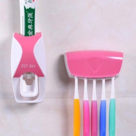 Bathroom Automatic Toothpaste Dispenser Squeezer Toothbrush Holder Set Pink