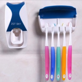 Bathroom Automatic Toothpaste Dispenser Squeezer Toothbrush Holder Set Blue