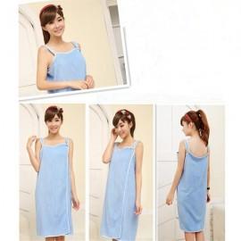 Women Sexy Bath Towel Wearable Beach Towel Soft Beach Wrap Skirt Super Absorbent Bath Gown Blue