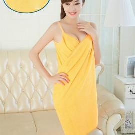 Sexy Women V-Neck Bath Towel Soft Wearable Towel Comfortable Beach Wear Bath Gown Orange Yellow