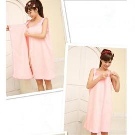 Women Sexy Bath Towel Wearable Beach Towel Soft Beach Wrap Skirt Super Absorbent Bath Gown Pink