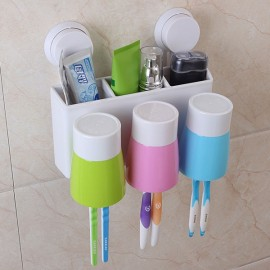 3-Cup Wall Suction Toothbrush Holder Rack Automatic Toothpaste Dispenser Washing Kit for Family White & Green & Pink & Blue