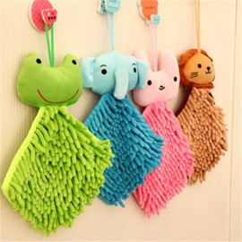 Cartoon Hanging Hand Towel Microfiber Fleece Water Absorption Cleaning Cloth Bathroom Rag Random Color