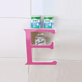 Creative Letter E Bathroom Storage Rack Kitchen Sponge Holder Shelf Pink