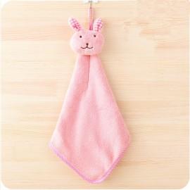 Cute Rabbit Small Towel Hanging Kitchen Bathroom Towel Coral Fleece Home Textile Pink