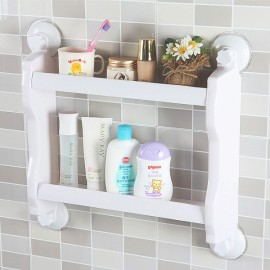 Plastic Wall Mounted Suction Cup Storage Rack Traceless Vacuum Kitchen Bathroom Shelf Holder White