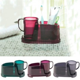2 in 1 Detachable Teeth Brushing Water Cup with Toothbrush Toothpaste Holder Gray