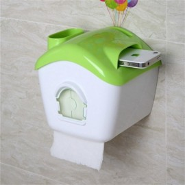Creative Toilet Roll Paper Holder Paper Box with Mobile Phone Rack Green