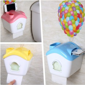 Creative Toilet Roll Paper Holder Paper Box with Mobile Phone Rack Pink