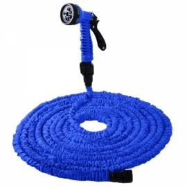25FT 7.5M 7-Mode Expandable Garden Water Hose Pipe with Spray Nozzle Blue