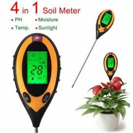 4-in-1 Electronic Soil Tester PH Humidity Temperature Analyzer Black & Yellow