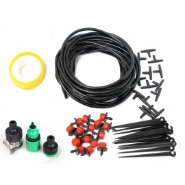 10 Meters Hose 15pcs Adjustable Dripper DIY Micro Drip Irrigation System Plant Self Watering Garden Hose Kits Red & Green & Black & Yellow