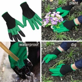 1 Pair Garden Gloves Digging Planting 4 ABS Plastic Claws Gardening Gloves Green