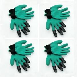 4 Pairs Garden Genie Gloves Digging Planting 4 ABS Plastic Claws Gardening Gloves Green