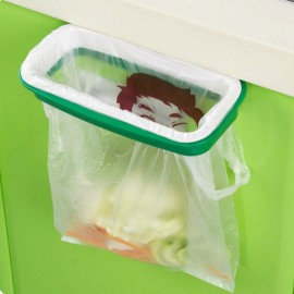 Plastic Hanging Garbage Rubbish Bag Holder for Kitchen Cupboard White & Green