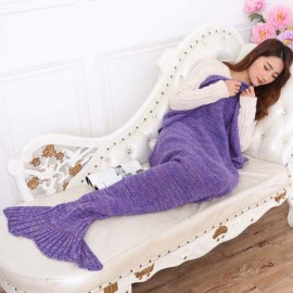 Newfashioned Stylish Crocheted Knitted Mermaid Tail Style Blanket Purple