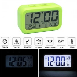 LED Digital LCD Alarm Clock Time Calendar Thermometer Snooze Backlight Green