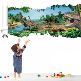 3D Forest Dinosaur Scroll Wall Decals Removable 3D Wall Art Sticker Home Room Decor