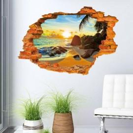 3D Beach Sun Design Wall Sticker Water Resistant Wallpaper Creative Home Art Poster